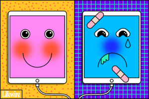 smiling healthy ipad and an ipad covered in bandaids and crying.